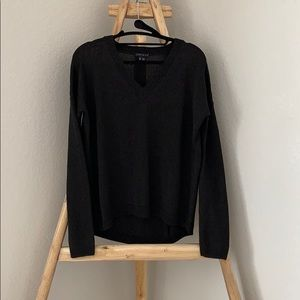 Theory Black V-Neck Hi-Lo Sweater